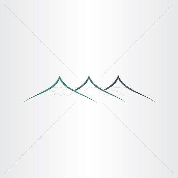 Absztrakt hegyek ikon embléma természetes felirat Stock fotó © blaskorizov
