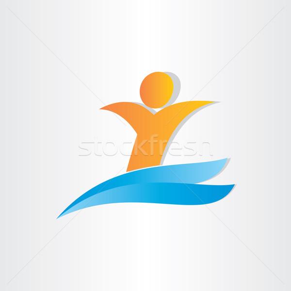 man swimming in water letter y summer symbol Stock photo © blaskorizov