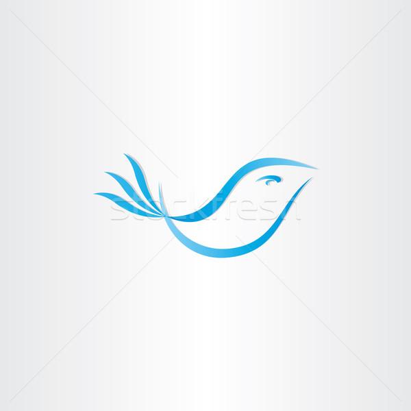 stylized blue bird vector Stock photo © blaskorizov