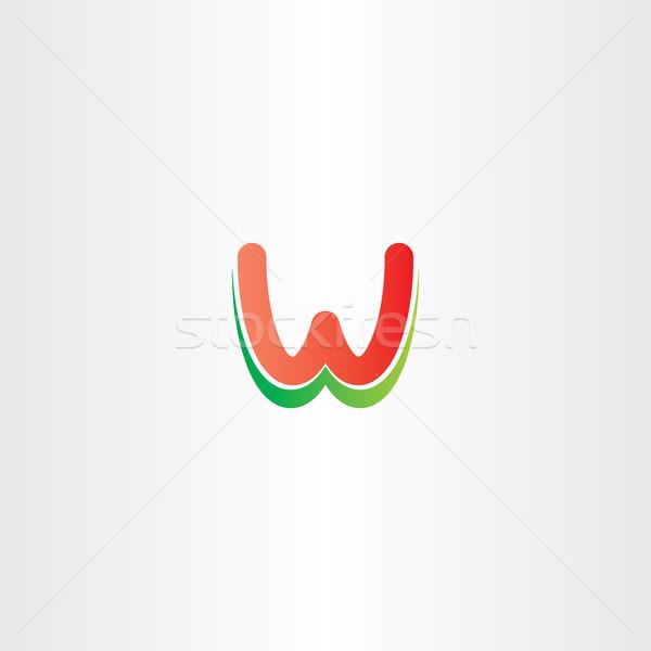 Kırmızı yeşil w harfi logo tasarımı vektör stilize Stok fotoğraf © blaskorizov