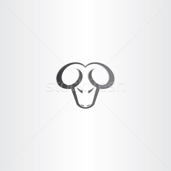 Fekete kos fej vektor ikon szimbólum Stock fotó © blaskorizov