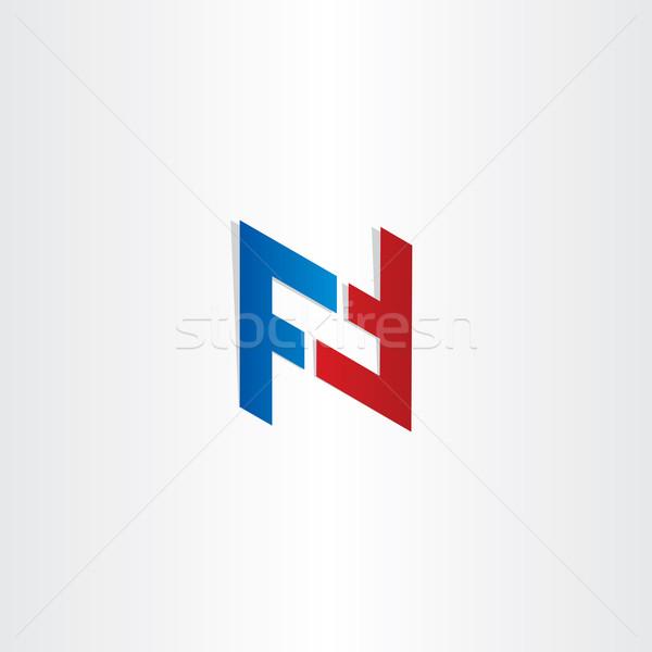 Rojo azul letra f símbolo diseno carta Foto stock © blaskorizov