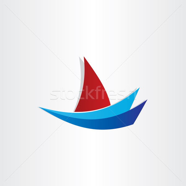 лодка воды стилизованный икона дизайна паруса Сток-фото © blaskorizov