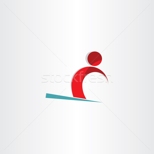 Kayakçı adam kayakçılık kar simge dizayn Stok fotoğraf © blaskorizov