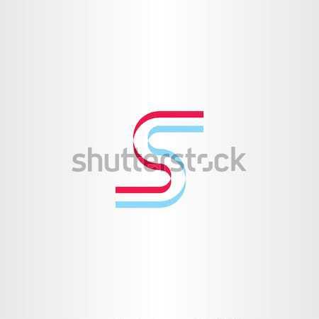 Kék piros stilizált ikon levél logo Stock fotó © blaskorizov