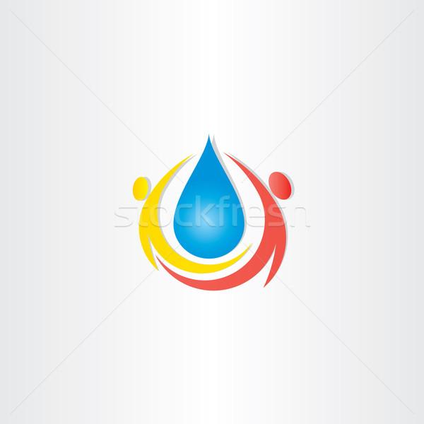Frio mineral cair água pessoas ícone Foto stock © blaskorizov