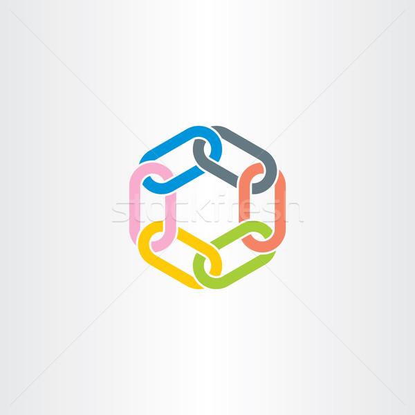 Keten link vector symbool kleur Stockfoto © blaskorizov