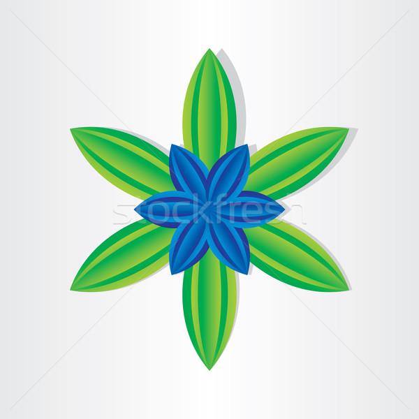 синий цветок зеленые листья аннотация икона лист здоровья Сток-фото © blaskorizov