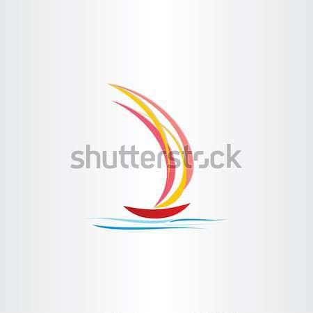 boat sailing on sea abstract design Stock photo © blaskorizov