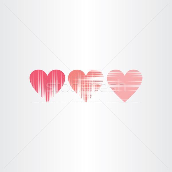scratched hearts icons set Stock photo © blaskorizov