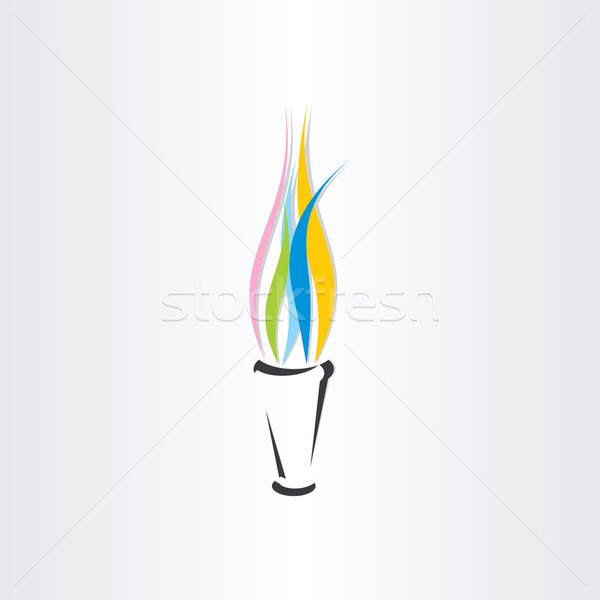 olympic fire torch colorful flame icon Stock photo © blaskorizov