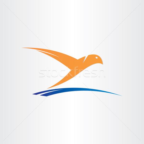 bird flying over water abstract symbol Stock photo © blaskorizov