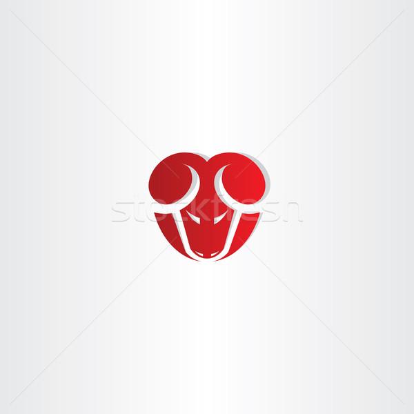 Rojo estilizado vector carnero icono diseno Foto stock © blaskorizov