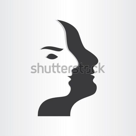 Ikizler erkek ayna simge soyut dizayn Stok fotoğraf © blaskorizov