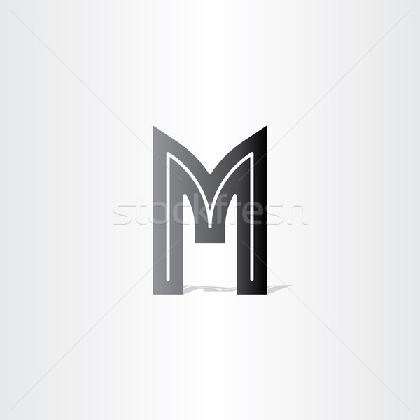 Mektup m siyah simge dizayn iş Stok fotoğraf © blaskorizov