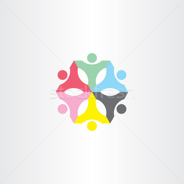 people teamwork color sign logo Stock photo © blaskorizov