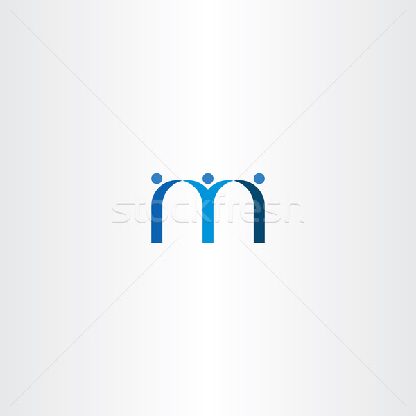 blue letter m people friends icon Stock photo © blaskorizov