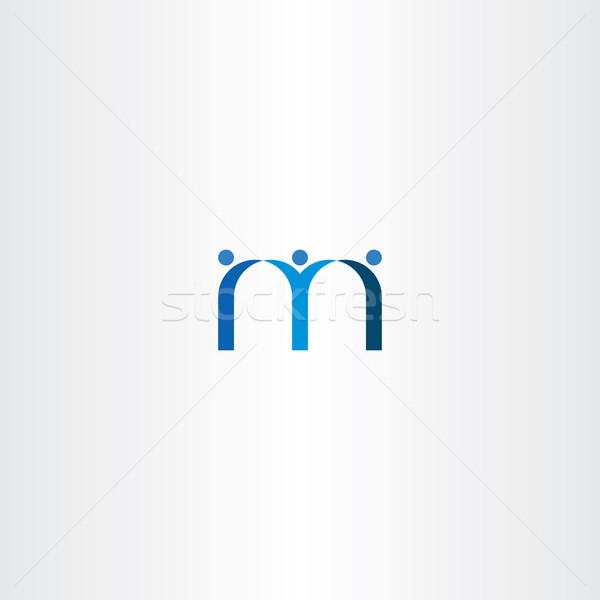 Mavi mektup m insanlar arkadaşlar ikon dizayn Stok fotoğraf © blaskorizov