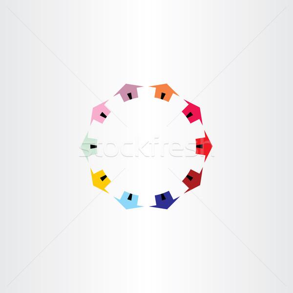 colorfull houses circle vector logotype Stock photo © blaskorizov
