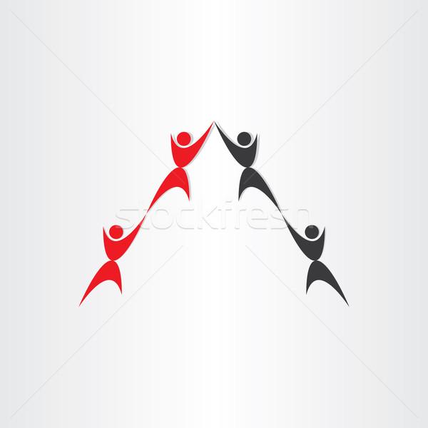 Personas trabajo en equipo casa techo signo socio Foto stock © blaskorizov