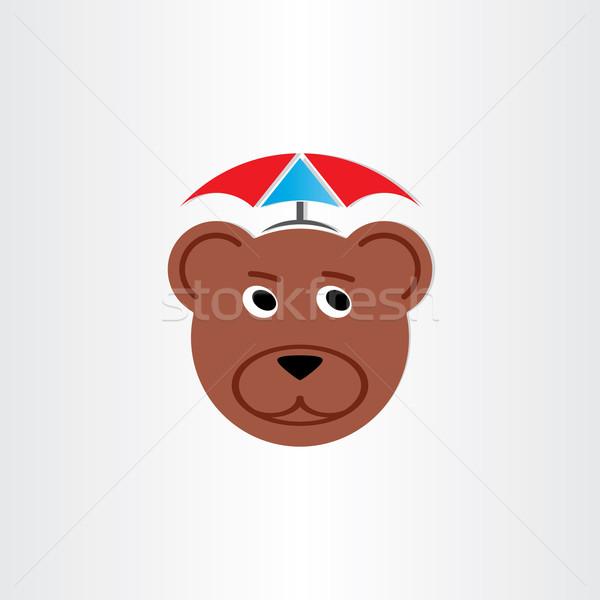 Bruine beer hoofd paraplu symbool silhouet beer Stockfoto © blaskorizov