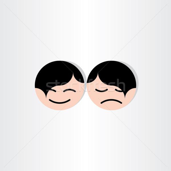 Gyerekek arcok boldog szomorú ikonok terv Stock fotó © blaskorizov