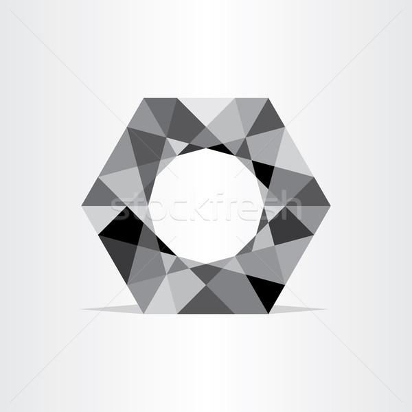 Resumen polígono geométrico negro hexágono signo Foto stock © blaskorizov
