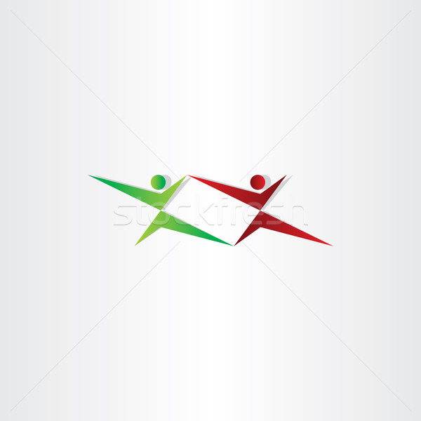Harcol emberek karate logo ikon sport Stock fotó © blaskorizov