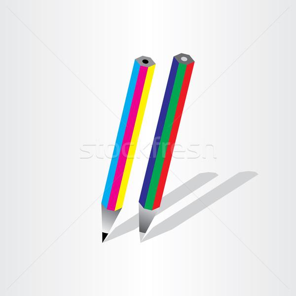 Színesceruza ikon dizájn elem üzlet fa iskola Stock fotó © blaskorizov