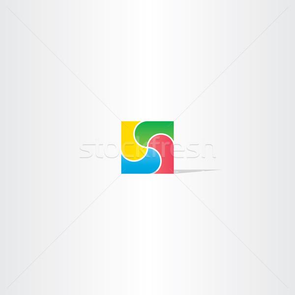Renkli kare iş logo dizayn soyut ikon Stok fotoğraf © blaskorizov