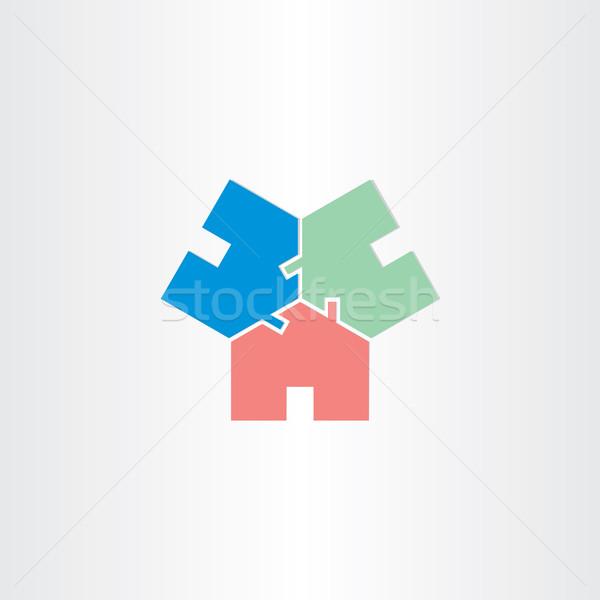 Három házak kör otthon ikon terv Stock fotó © blaskorizov