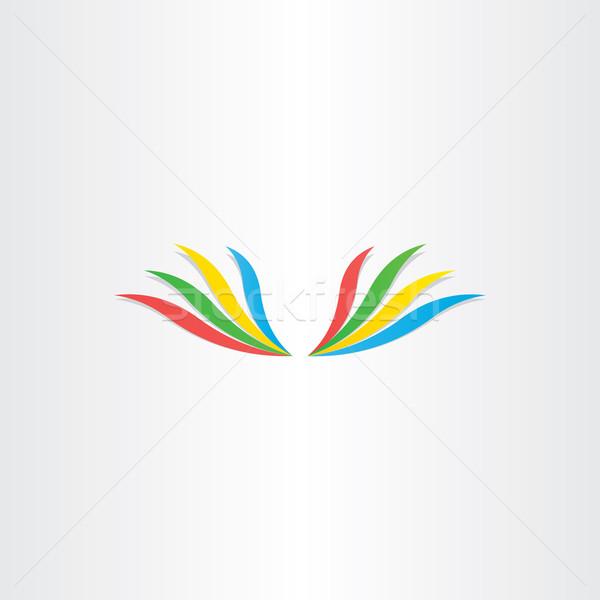 Resumen colorido alas icono diseno feliz Foto stock © blaskorizov