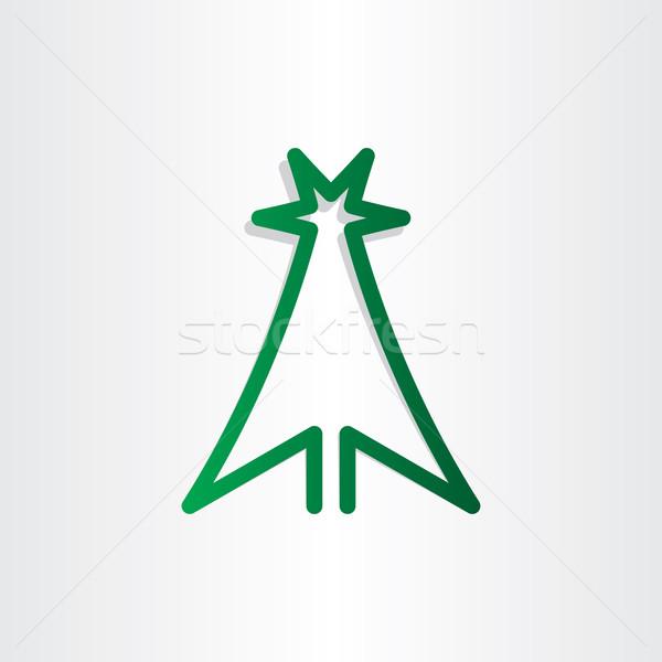 Сток-фото: дерево · зеленый · линия · икона · дизайна · символ