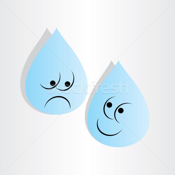 Cseppek víz szomorú aggodalom boldog kék Stock fotó © blaskorizov