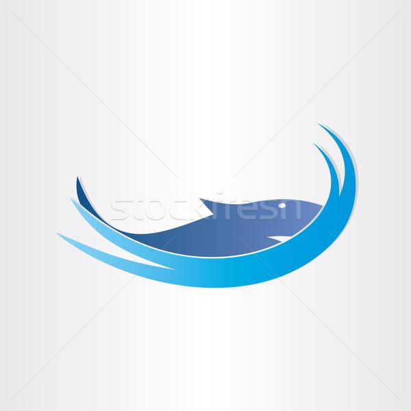 Köpekbalığı okyanus simge dizayn balık mavi Stok fotoğraf © blaskorizov