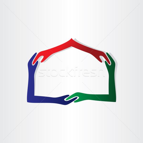 Humanos manos casa amistad inmobiliario icono Foto stock © blaskorizov