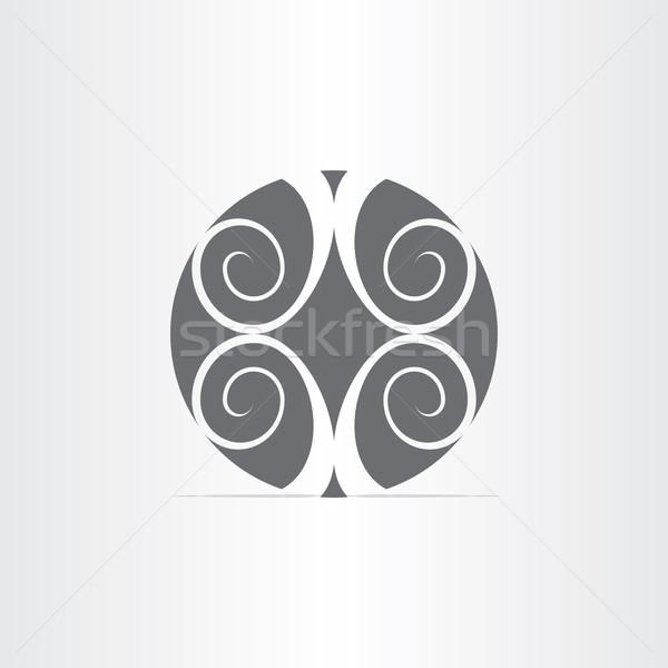 Absztrakt virágmintás kör ikon szürke dizájn elem Stock fotó © blaskorizov