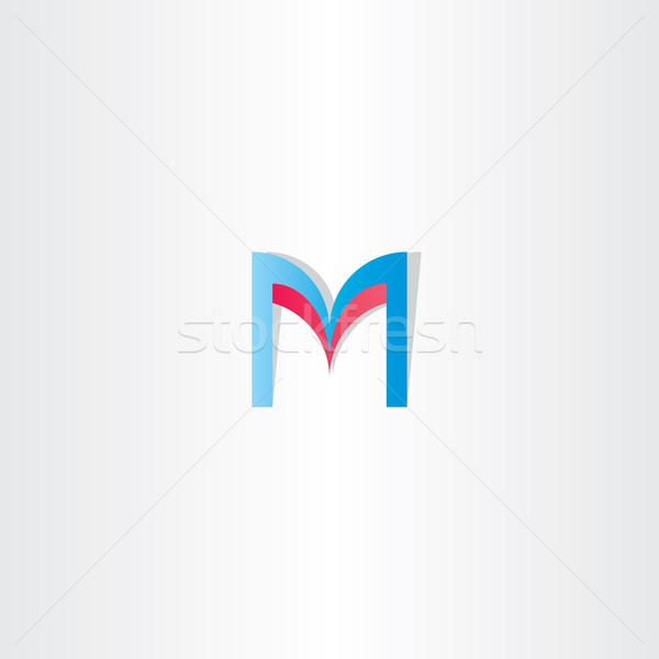 Piros kék m betű logotípus alkotóelem vektor Stock fotó © blaskorizov