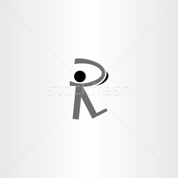 man walking black icon letter r logo Stock photo © blaskorizov