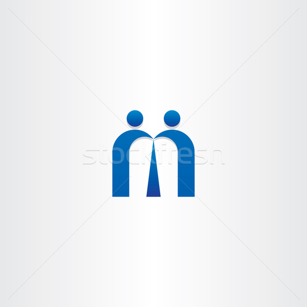 blue letter m people business icon Stock photo © blaskorizov