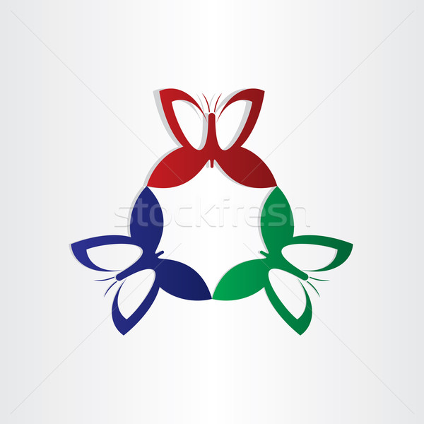 colorfull butterflies fly in circle shape Stock photo © blaskorizov