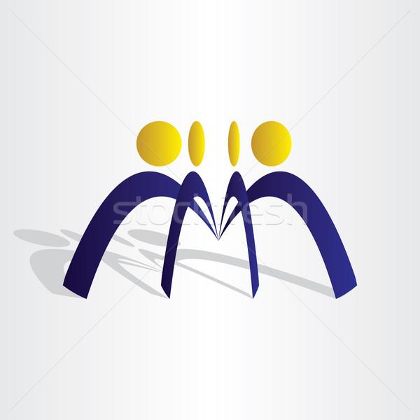 üzletemberek csapatmunka ikon absztrakt terv férfi Stock fotó © blaskorizov