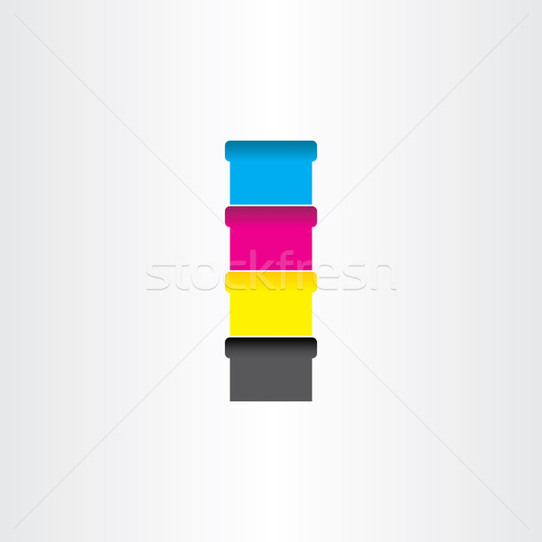 Stock photo: offset printing color cans icon