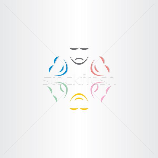 Color caras feliz triste máscara icono Foto stock © blaskorizov