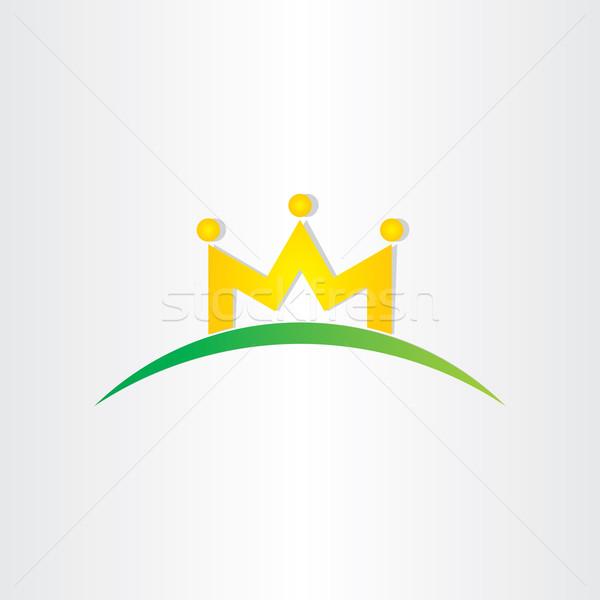 Doubler lettre m couronne personnes icône design Photo stock © blaskorizov