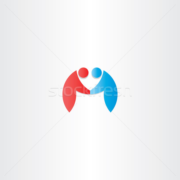 people handshake icon letter m logotype Stock photo © blaskorizov