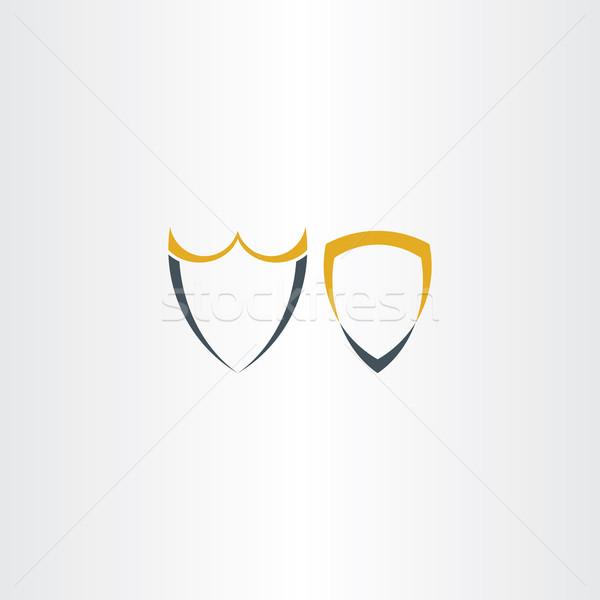 два аннотация стилизованный щит иконки символ Сток-фото © blaskorizov