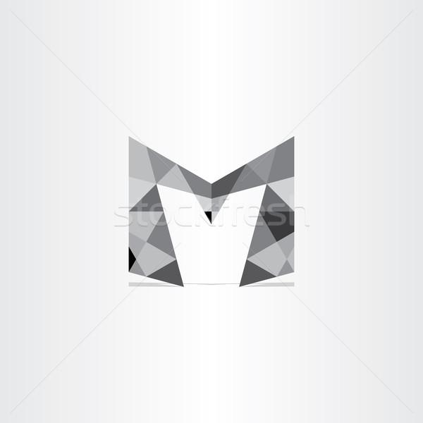 Mektup m çokgen ikon siyah soyut mektup Stok fotoğraf © blaskorizov