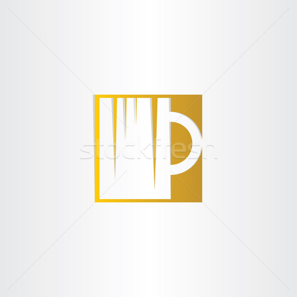 golden beer glass icon design Stock photo © blaskorizov