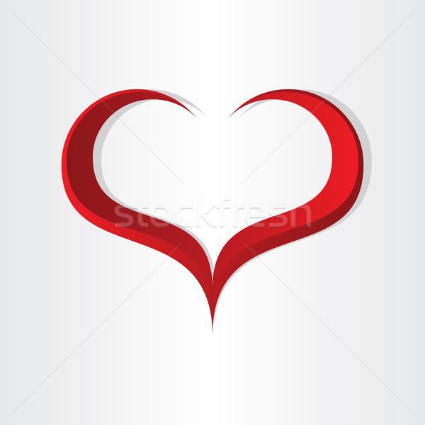 Piros szív alak absztrakt ikon terv Valentin nap Stock fotó © blaskorizov